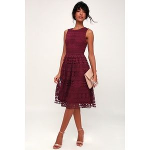 Lulu's Madly in Love Plum Purple Lace Midi Dress